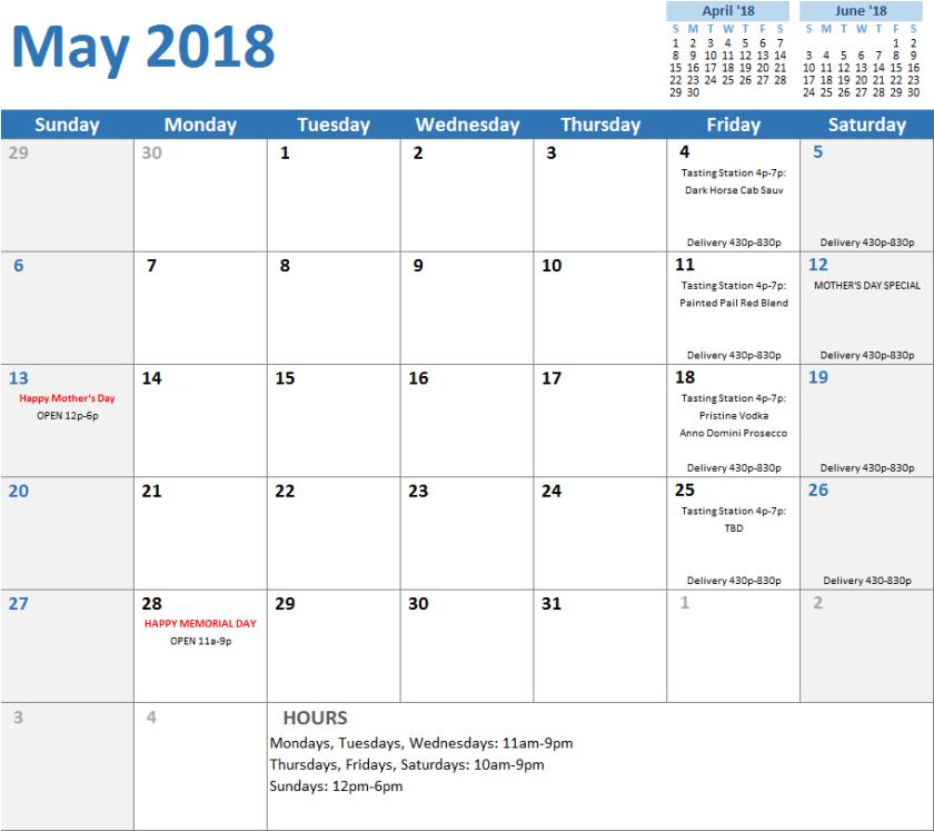 calendarmay2018